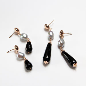 Black Agate and Grey Pearl Drop Earrings
