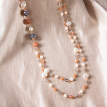 Smoky Quartz, Pink Jasper, Moonstone and Freshwater Pearl Long Necklace