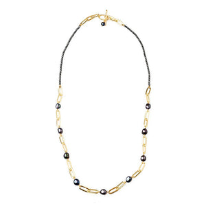 Velatti Hematite & Pearl Long Links Necklace (Pre-Order)