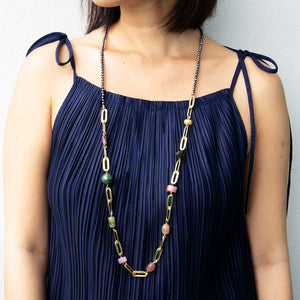 Velatti Hematite & Multi Quartz Long Links Necklace (Pre-Order)