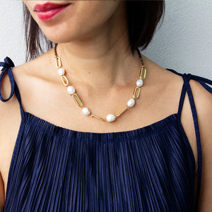 Velatti Hematite Short Links Necklace with Pearls (Pre-Order)