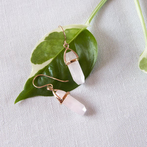 Hexagon Rose Quartz Earrings