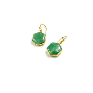 Aventurine Hexagon Earrings