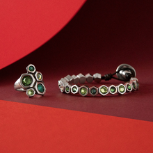 green Swarovski crystal jewellery silver