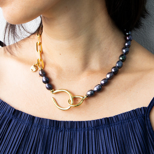 Velatti Black Freshwater Pearl Hook Clasp Necklace (Pre-Order)