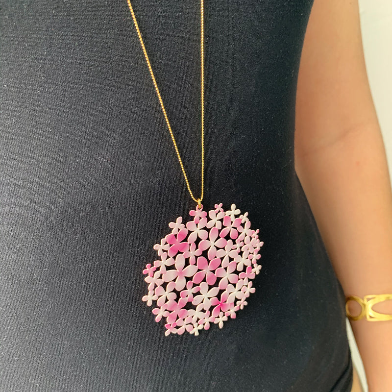 RAS Large Pink Hydrangea Pendant Necklace
