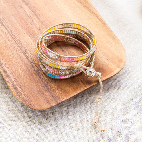 rainbow aztec beaded wrap bracelet