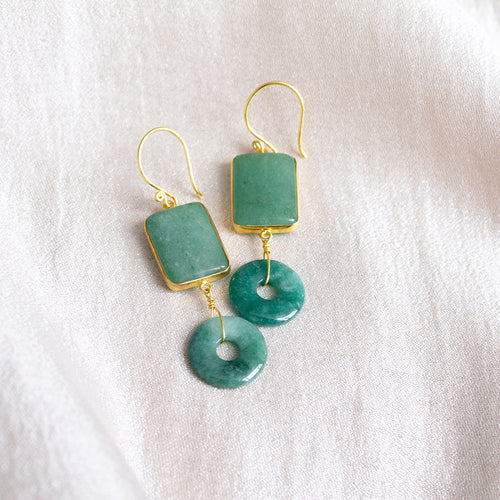Aventurine & Jade Donut Earrings