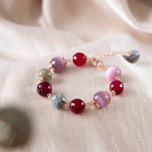 Jasper and Purple Cats Eye Bracelet