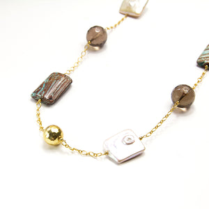 Zebra Jasper, Smoky Quartz & Pearl Necklace