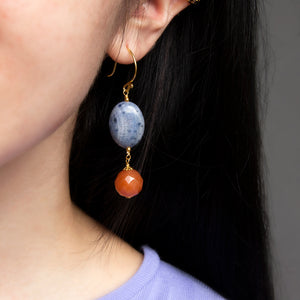 Sodalite with Orange Aventurine Earrings