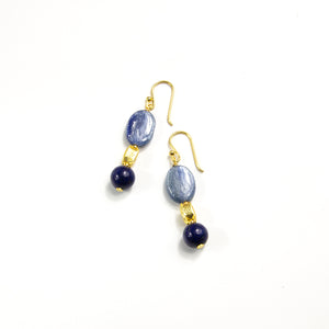 Kyanite & Lapis Hook Earrings