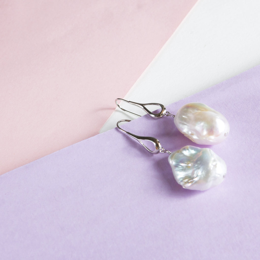 Large Baroque Pearl Drop Earrings