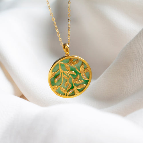 Full Circle Reversible Leaves 18K Gold Necklace