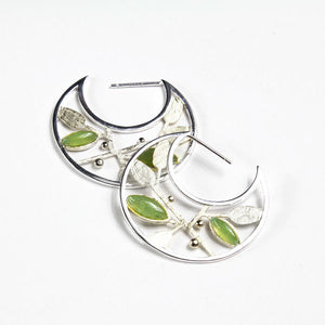 Aventurine Leaves Semi Circle Hoops