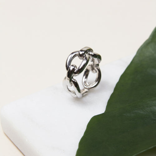 chain link sterling silver ring with rhodium plating