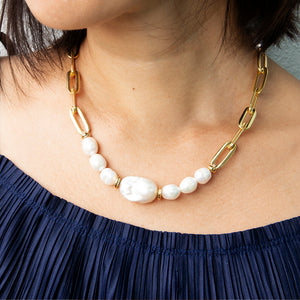 Velatti Pearl Short Links Necklace (Pre-Order)