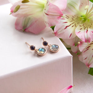 Lolite and Labradorite Drop Studs