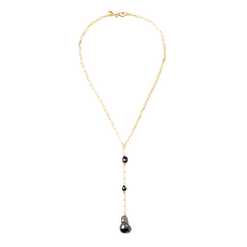 Velatti Black Pearl Links Long Drop Necklace (Pre-Order)