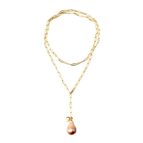 Velatti Baroque Pearl Drop Links Long Necklace