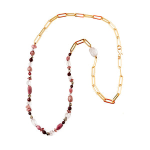 Velatti Long Links Necklace with Quartz