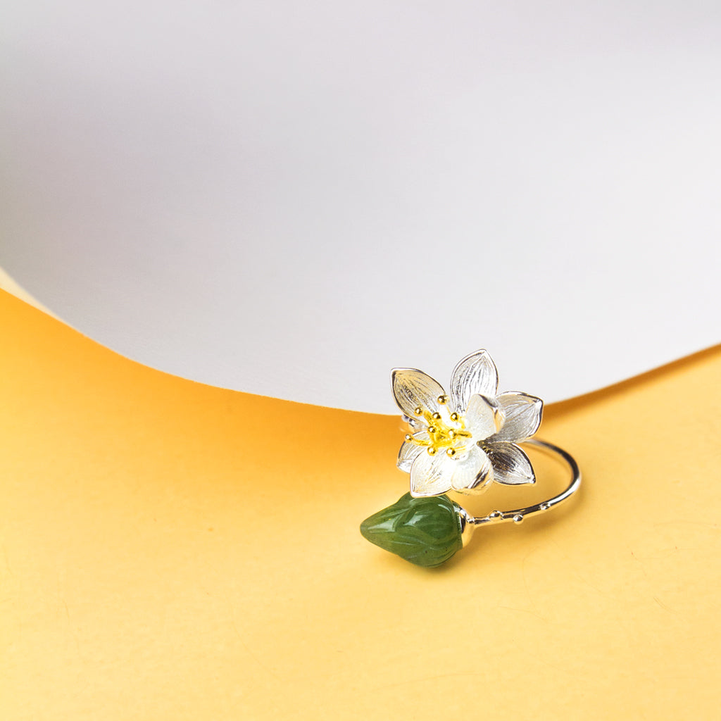 Lotus Flower Aventurine Ring
