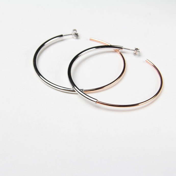 Rose gold hoop earrings 925 silver