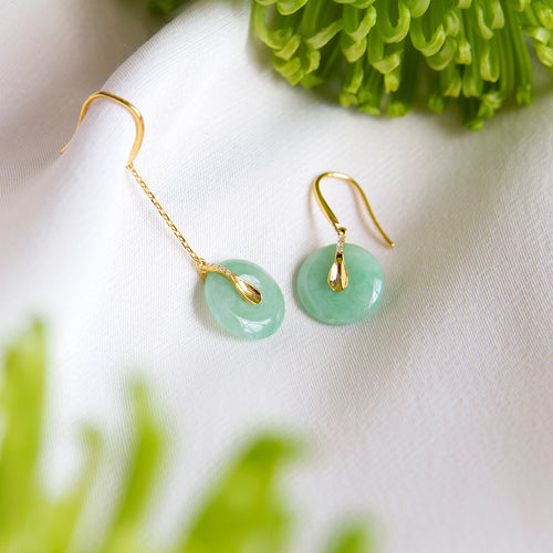 Mismatched Jade Earrings with Diamonds