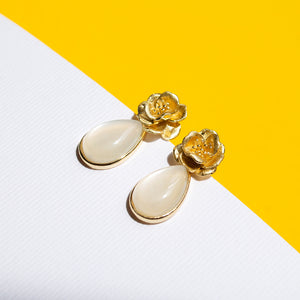 Flower and Moonstone Studs