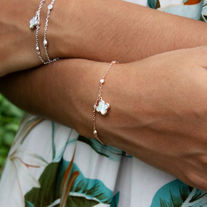 Mother of Pearl Clover Charm Bracelet