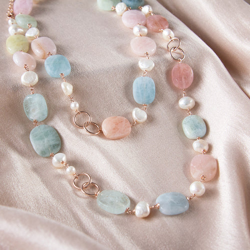 Morganite and Pearl Long Necklace