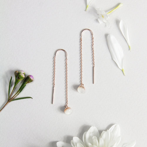 Mother of Pearl Droplet Long Earrings
