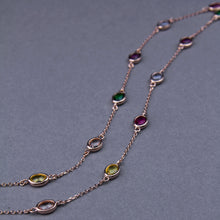 multi-coloured swarovski crystal long necklace