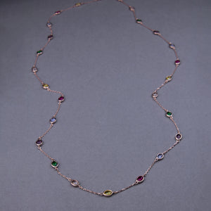 oval swarovski crystal long necklace with rose gold plating