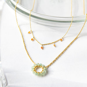 Double Gemstone Droplet Necklace