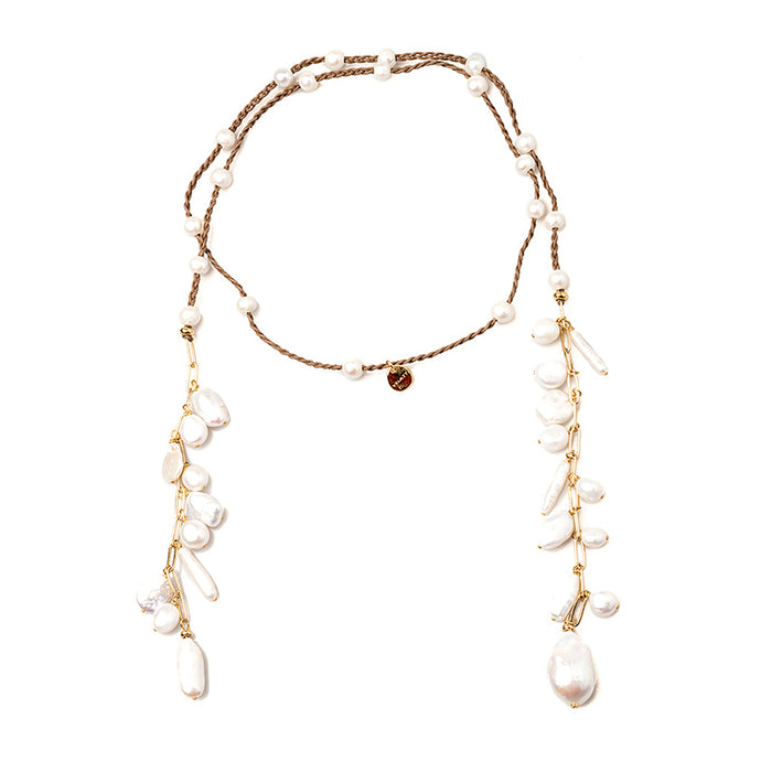 Velatii Hand Braided Multi Baroque Pearls Necklace
