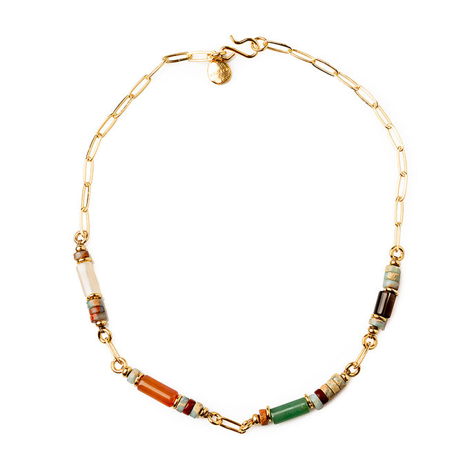 Velatti Short Links Necklace with Agate & Quartz (Pre-Order)