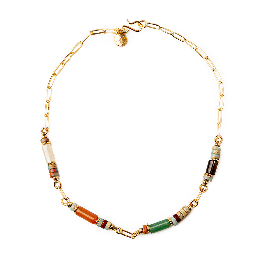 Velatti Short Links Necklace with Agate & Quartz