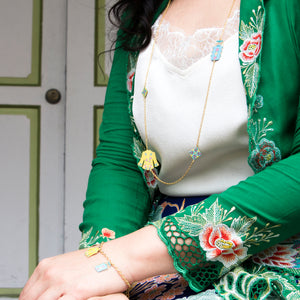 nonya peranakan charm necklace gold