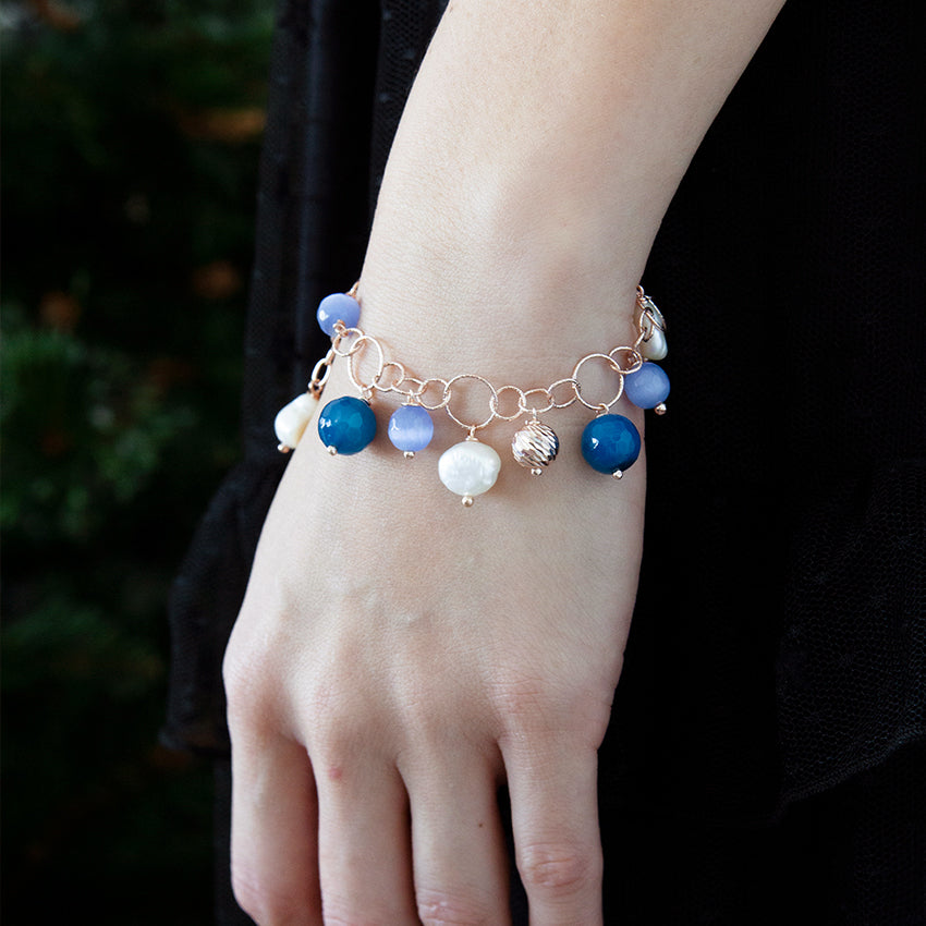 Blue Cats Eye and Pearl Charm Bracelet