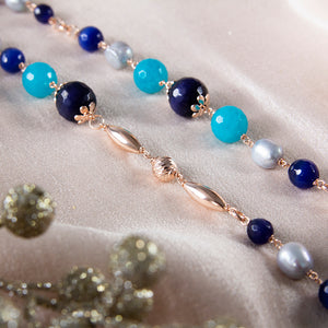 Blue Quartz, Cats Eye and Grey Pearl Long Necklace