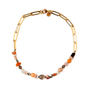 Velatti Stacked Smoky Quartz Short Links Necklace (Pre-Order)