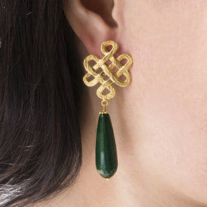 Oriental Knot Long Drop Earrings