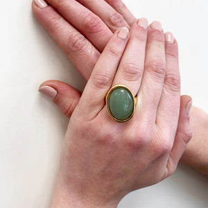 Velatti Oval Shaped Gemstone Ring