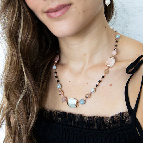 Morganite and Black Agate Short Necklace