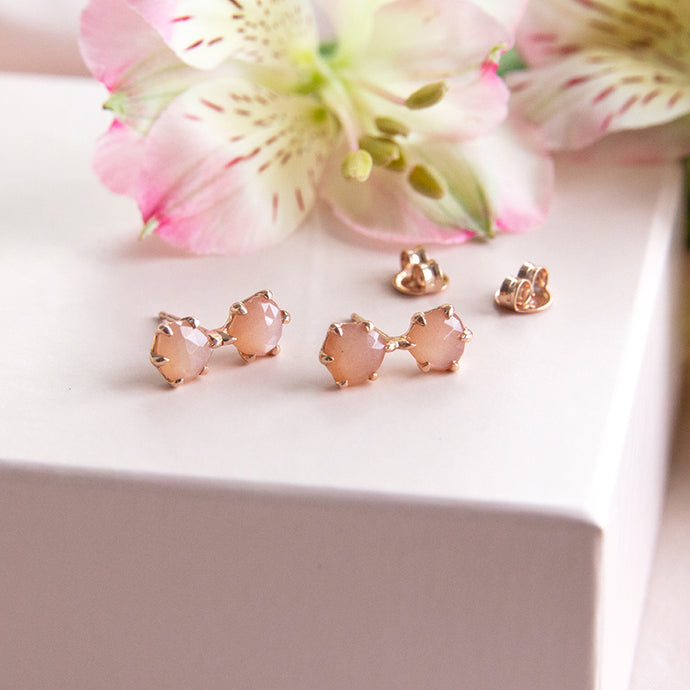 Lotus Double Peach Moonstone Studs