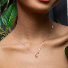 Peach Moonstone and Emerald Necklace