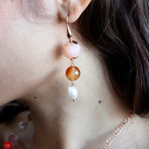 Carnelian, Peach Quartz and Pearl Drop Earrings