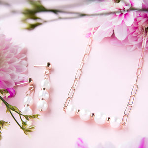 Triple Freshwater Pearl Chain Drop Earrings
