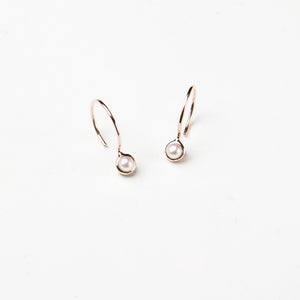 Round Freshwater Pearl Hook Earrings